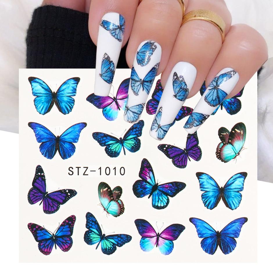 1 adet suluboya kelebekler kaydırıcılar mavi siyah tırnak çıkartma yaz Nail Art dekorasyon su dövme manikür GLSTZ982-1017