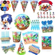 Sonic зубная щётка принадлежности для тематической вечеринки Sonic зубная щётка Бумага кружки, тарелки, салфетки баннер торт флаг латексных воз...