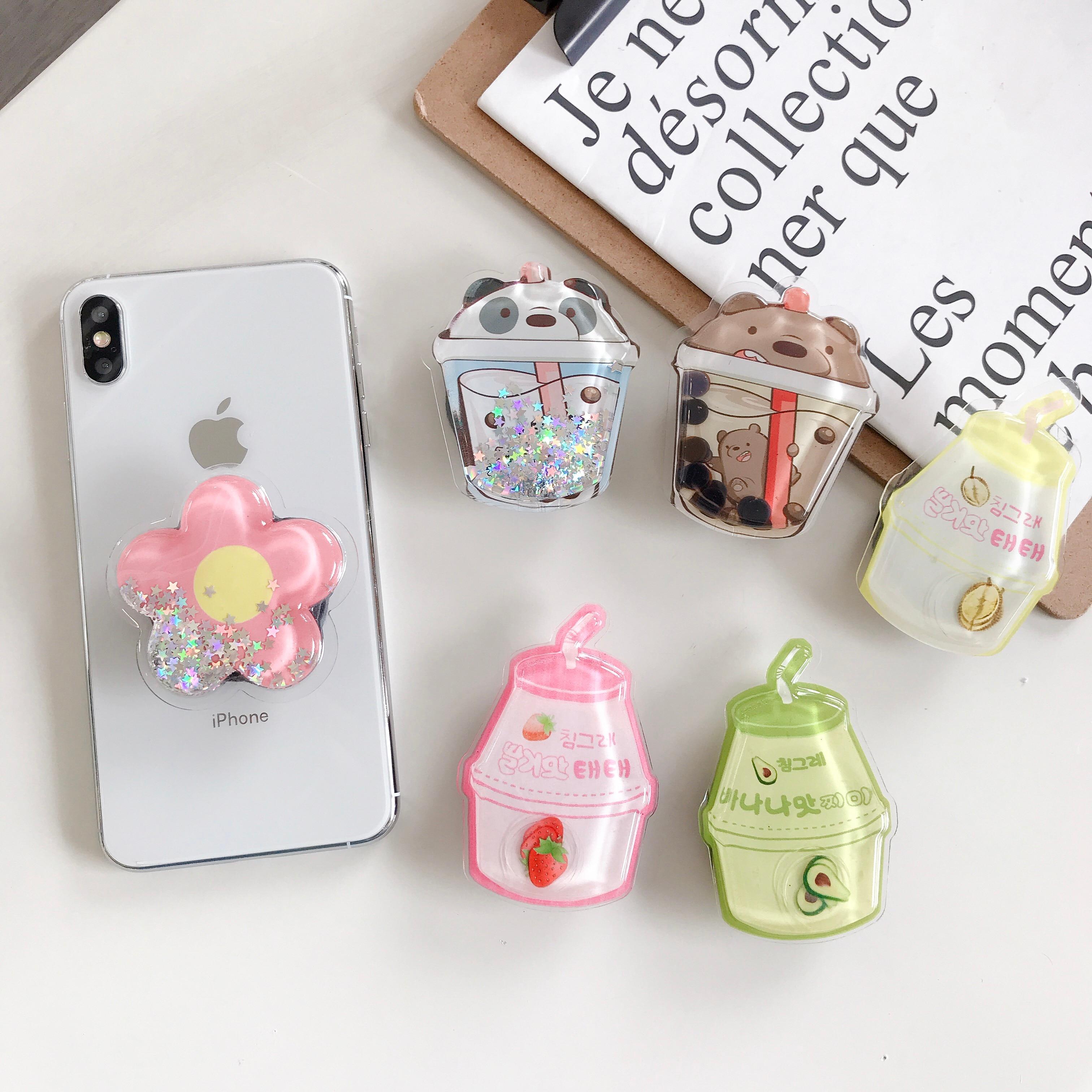 WholesaPPSocket Mobile Phone Soket Stretch Bracket Cartoon Air Bag Phone Expanding Phone Stand Finger Car Phone Holder Pipsocket
