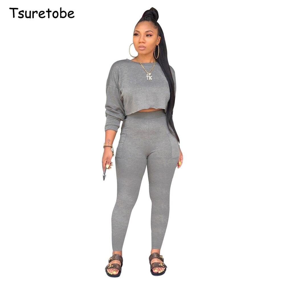 Tsuretobe Autumn Tracksuit 2 Piece Set Women Winter Long Sleeve Crop Tops And High Waist Pants Pockets Casual Sweatshirts Outfit