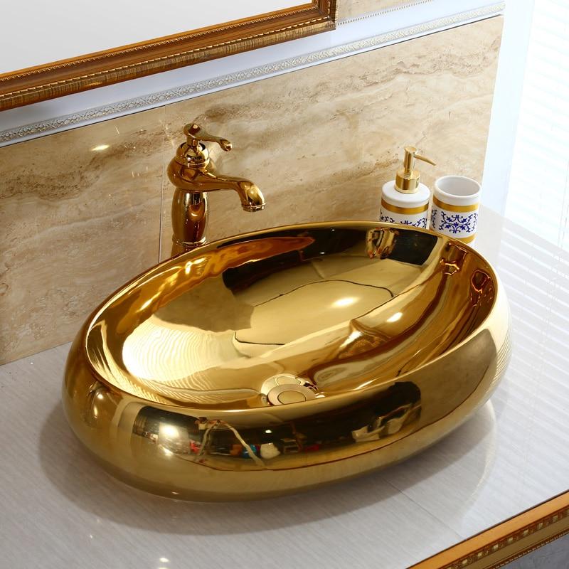 Sink Hot Cold Water Mixer Bathroom Sink Washbasin Above Counter Basin European Ceramic Sink Art Basin Gold Wash Basin Oval