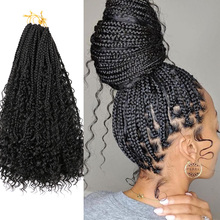 """Saisity 22"""" 12 Roots With Curly End Extensions Omber Goddess Box Braids Crochet SyntheticBohemian Messy Box Braids Crochet Hair cheap Low Temperature Fiber CN(Origin) Marley Braids 12strands pack Ombre"""