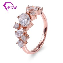 14k Rose gold D color Moissanite 5x7mm Oval side stones 2pcs 3x5mm Pear 2pcs 3.5mm&4pcs 2.5mm Round 1.2mm Band Wide Fast Ship