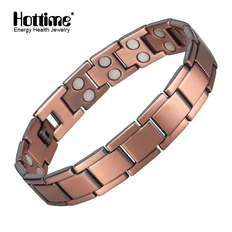 Hottime Vintage Copper Magnetic Bracelet for Men / Women 2 Row Magnet Energy Healing Bangles Fashion Jewelry Male Wristband