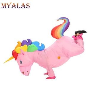 Image 4 - Unicorn Costumi Gonfiabili Per Adulti Donne Uomini Pegasus Halloween Cavallo Pony Carnevale Teenager Del Partito di Cosplay Completa Del Corpo Vestito di Vestito