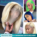 Rosabeauty HD прозрачные 613 светлые Цветные Короткие парики из натуральных волос на кружеве 4x4, бразильские прямые волосы