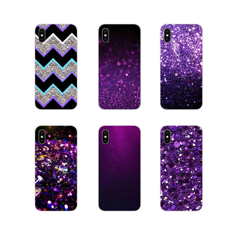 Purple sparkle Glitter Accessories Phone Shell Covers For Xiaomi Mi4 Mi5 Mi5S Mi6 Mi A1 A2 A3 5X 6X 8 CC 9 T Lite SE Pro