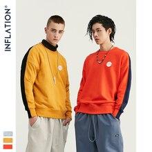 INFLATION DESIGN Men Sweatshirt With Contrast Raglan Sleeve Fleece Fabric Men Loose Fit Sweatshirt Cotton Men Sweatshirt 9628W
