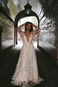 Image 4 - Beach Wedding Dress 2020 Shiny Stars A line Boho Bridal Dress Backless Summer Bridal Gowns