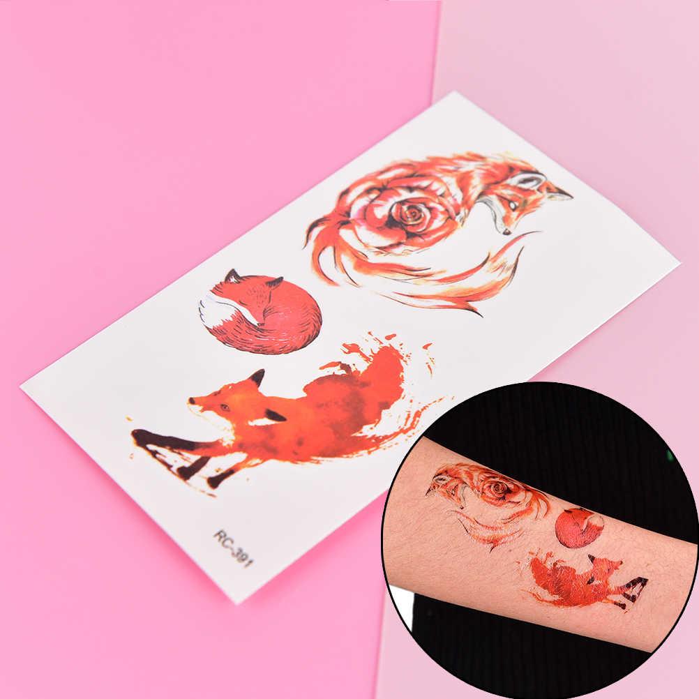 1 Copriletto Del Corpo di Modo di Arte Adulti Impermeabile A Mano Falso Tatoo Volpe Autoadesivo Del Tatuaggio Temporaneo Per Le Donne Degli Uomini