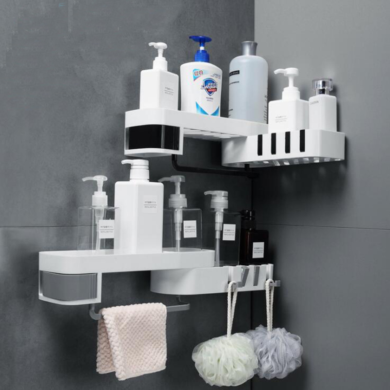Bathroom Storage Rack With Hook Makeup Cosmetic Shower Organizer Kitchen Seasoning Spice Storage Holder Wall Towel Storage Shelf