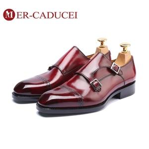 Monge sapatos masculinos de couro genuíno marca luxo artesanal vintage retro escritório formal festa casamento dos homens vestido sapato