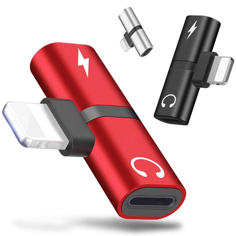 Металл 2 в 1 сплиттер аудио разъем для зарядки для iPhone X 7 8 Plus XR XS 11 Pro Max Музыка Наушники Jack адаптер конвертер мини