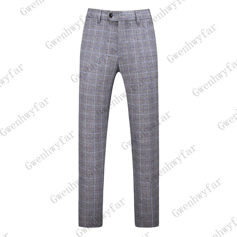 Gwenhwayfar, мужские синие клетчатые брюки, деловой костюм, брюки, деловые повседневные облегающие брюки, Классический Клетчатый костюм, брюки для свадьбы - Цвет: gray plaid