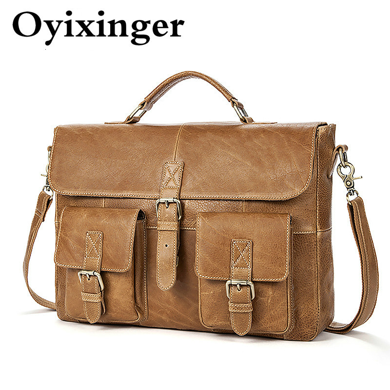 Business Briefcases Men Genuine Leather Laptop Messenger Mens Bag Man Leather Bags Travel Office Shoulder Bags Maleta Briefcase