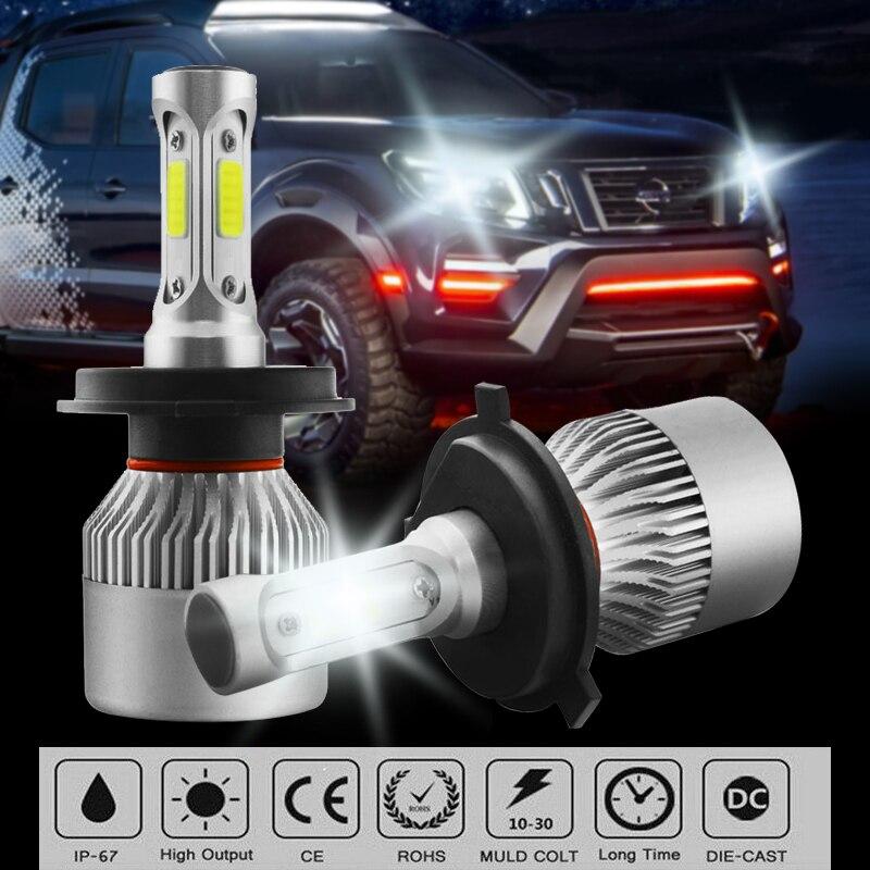 2 шт. H4 светодиодный фонарь все-в-одном светодиодный лампы 9003 HB2 Hi/Lo луч 2000 Вт 270000LM 6000K