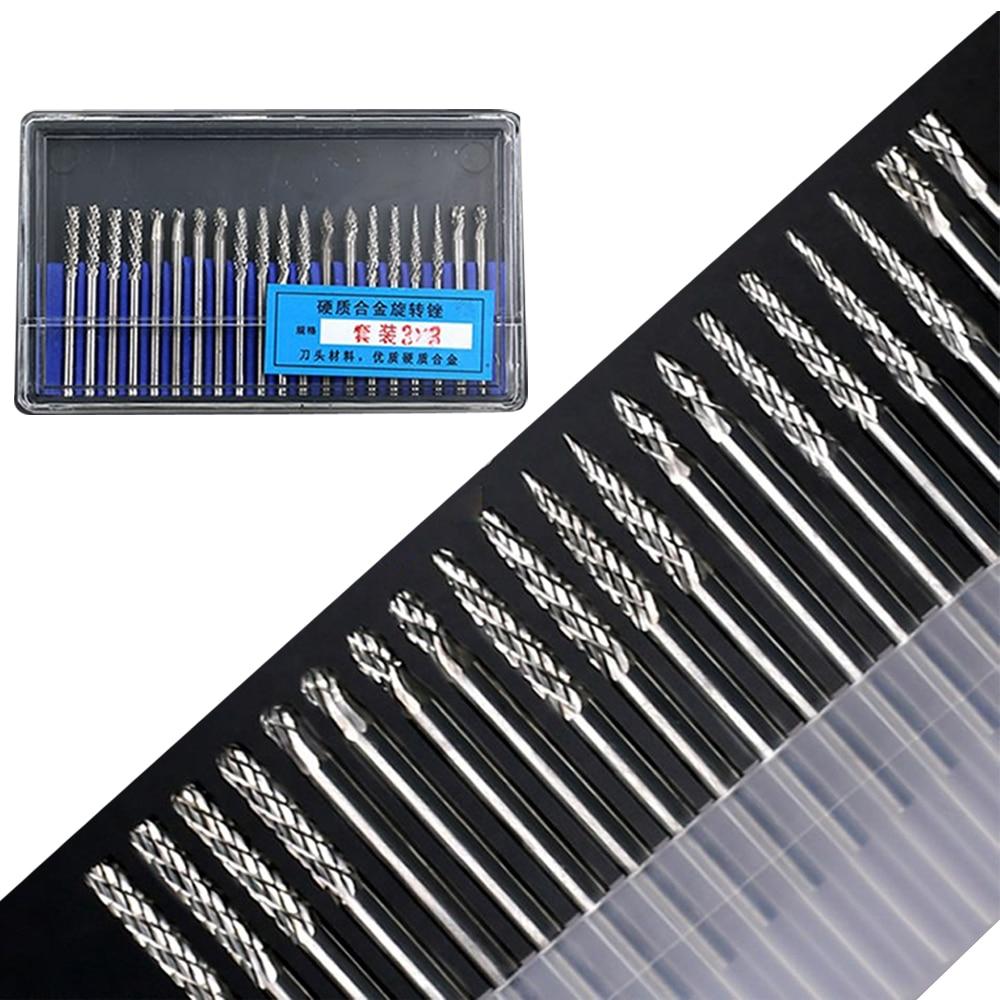 20pcs Dremel Carbide Burrs Drill Bit Set For Metal Woodworking Carving Tools Rotary Drill Bits Mini Glass Diamond