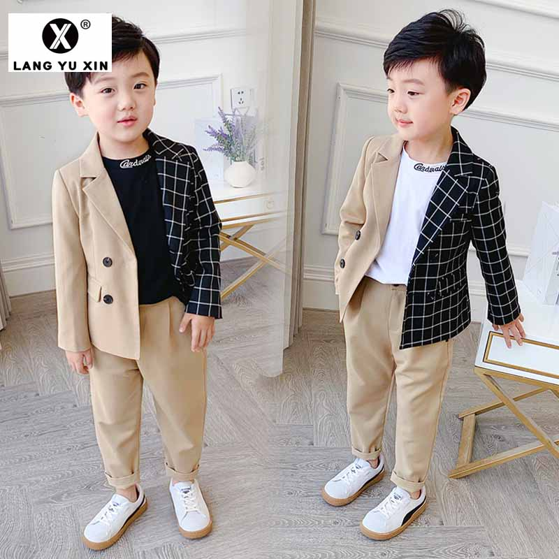 Boy's Suit Fashion Stitching Plaid Two-Piece Jacket Trousers Children's Clothing Personality Suit