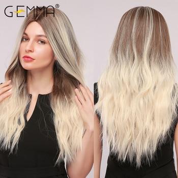 GEMMA طويل مموج شعر مستعار اصطناعي أومبير براون شقراء تسليط الضوء على الباروكات للنساء السود الجزء الأوسط تأثيري الشعر ارتفاع درجة الحرارة الألياف 1