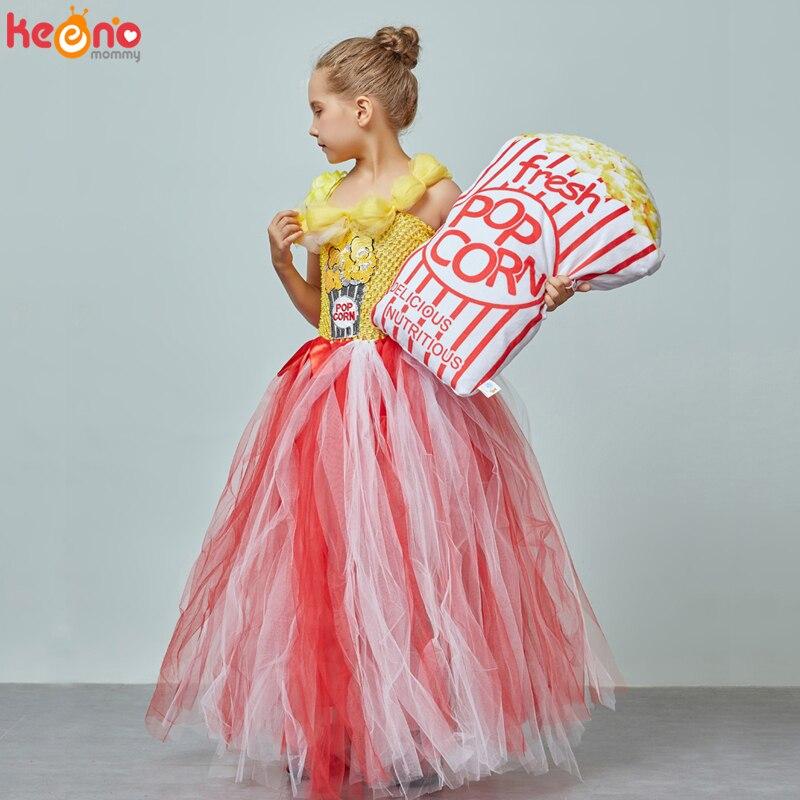 Circus Popcorn Girl Tutu Dress Carnival Birthday Party Wedding Flower Sequin Ball Gown Costume Kids Pop Corn Food Tulle Dress 3