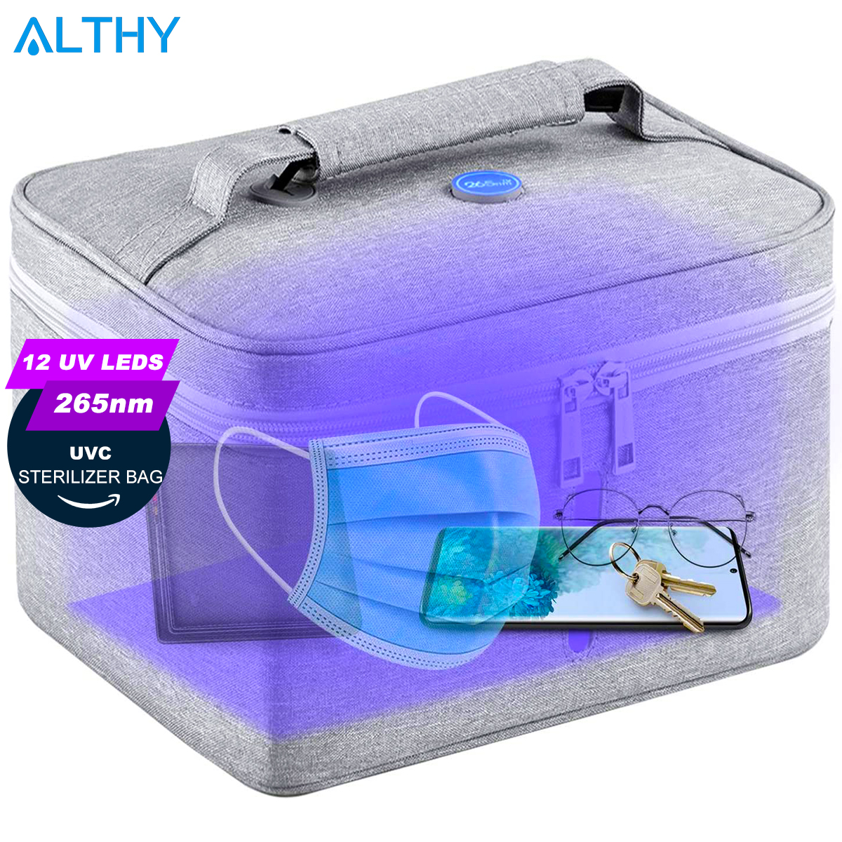 ALTHY 265nm <font><b>UV</b></font> LED Sterilizer Bag Sanitizer <font><b>Box</b></font> UVC light lamp USB Rechargeable Disinfection for Phone Bottle Jewelry Mask etc. image