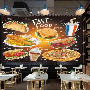 Ręcznie rysowane popularne tapety Fast Food 3D Taco ryby i chipsy Burger Doner Kebab Pizza lody i napoje gazowane tapeta 3D tanie i dobre opinie ANNAGOODS NONE CN (pochodzenie) Yuan rolka Tapeta z włókna drzewnego PRINTED Nowoczesne Papieru tapety SALON przyjazne dla środowiska