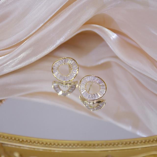 14k Real Gold Fashion Personality Irregular Circle Earring for Women Brilliant AAA Zirconia Stud Earring Brincos Wedding Pendant 5