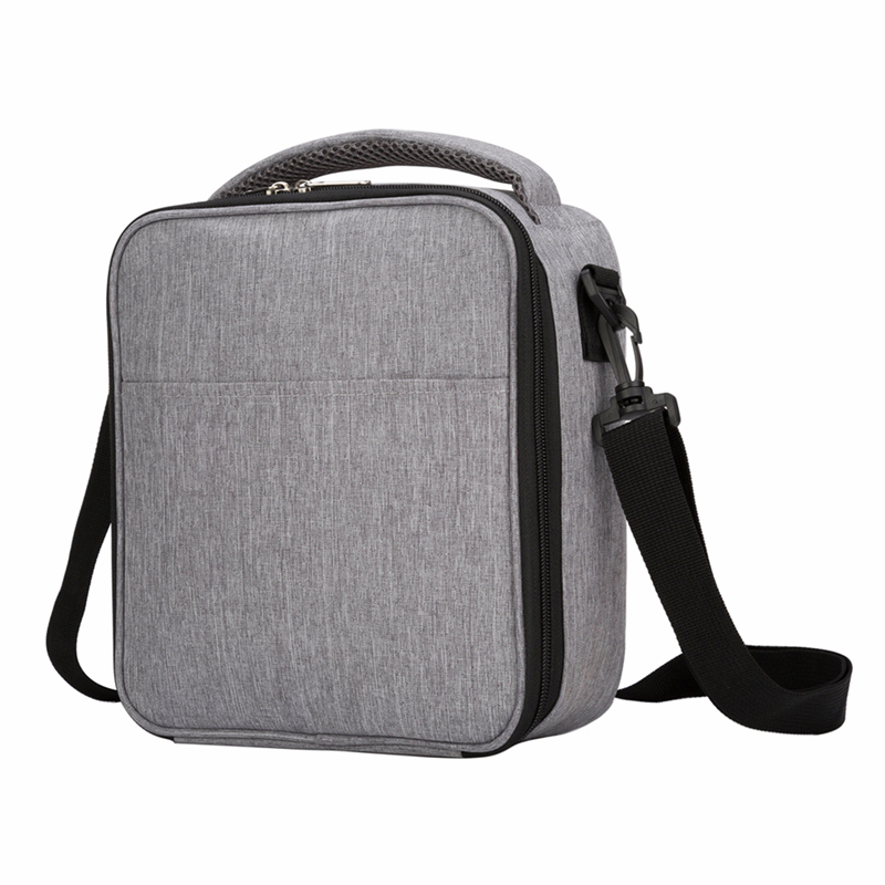 Heopono Detachable Shoulder Strap Fitness Heather Gray Polyester FDA Food Safe Aluminum Foil Thermal Insulated Cooler Lunch Bag