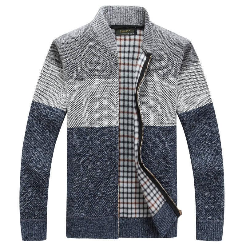 2019 Business Sweaters Men's Sweater Coat Male Velvet Wool Sweater Jackets Men Zipper Knitted Thick Coat Casual Knitwear M-3XL