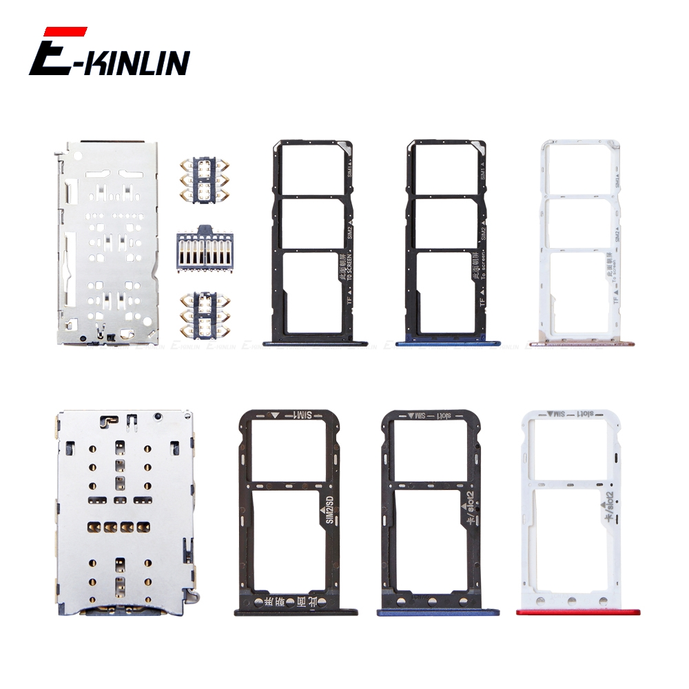 Micro SD / Sim Card Tray Socket Adapter For Honor Y6 Pro Y5 Prime 2018 2017 Connector Holder Slot Reader Container
