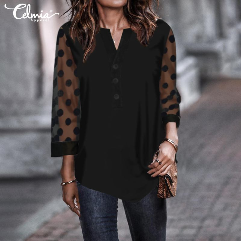 Women Fashion Polka Dot Print Tunic Tops Celmia 2019 Plus Size 3/4 Sleeve Lace Blouses Casual Loose Shirts Elegant Blusas Mujer