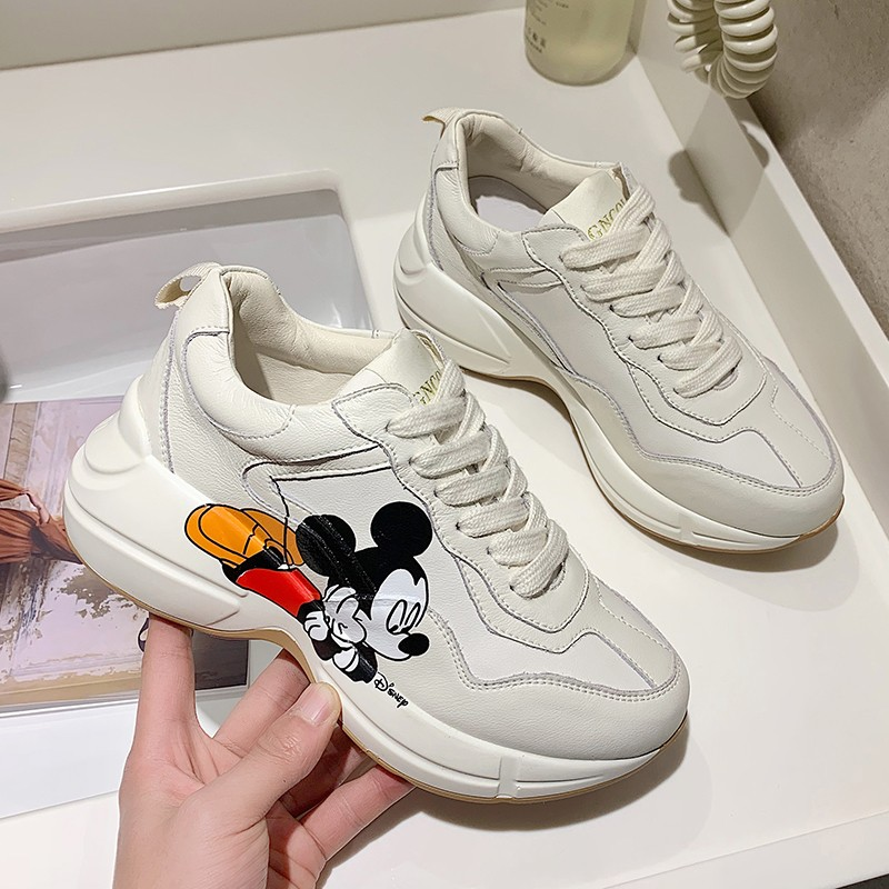 2020 Early Spring New Ins Daddy Shoes Women Mickey Printed Sneakers Tide Thick Bottom Shoes White Shoes
