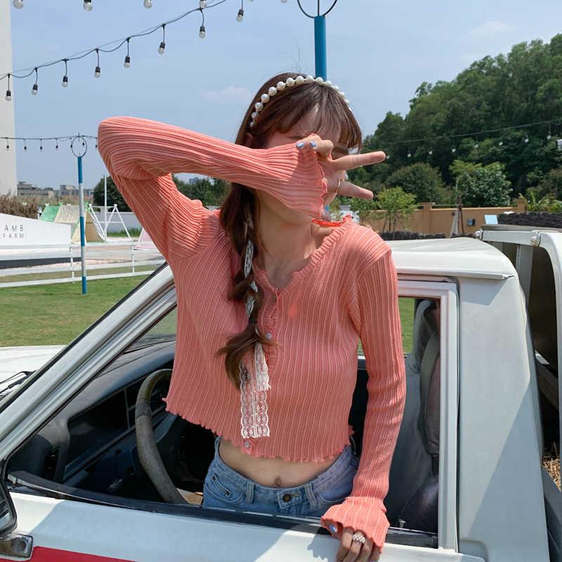 여성 v-목 니트 캐주얼 셔링 짧은 스웨터 카디건 레이디 여성을위한 부드러운 얇은 여름 카디건 Outwear 뜨개질