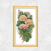 Joy Sunday Rose Paintings Handwork Beginner Embroidery Sets Print Canvas Cross-stitch 11CT 14CT Wholesale Needlework Home Decor
