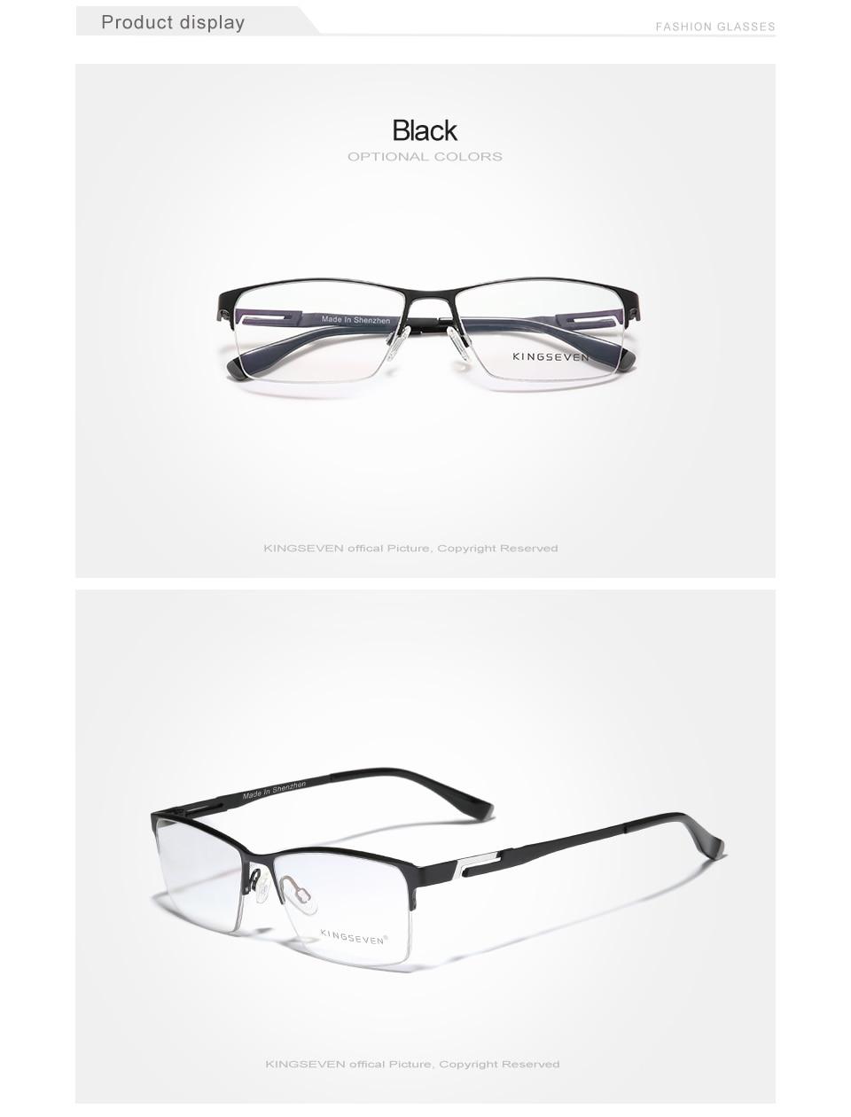 KINGSEVEN Men's Glasses Pure Titanium Half Frame Fashion Trending Eyewear Myopia Prescription Optical Eyeglasses