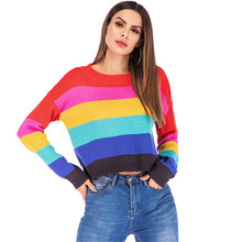 купить Women Striped Sweater Pullover Rainbow Print Pull Long Sleeve Casual Sweater Fashion Streetwear Winter New Party Office Pullover по цене 1040.8 рублей