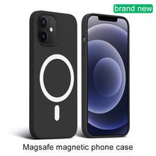 Płynny silikonowy futerał na telefon do Magsafe magnetyczny bezprzewodowy ładowanie ultra-cienki pokrowiec ochronny do IPhone 12Pro Max 12Mini 2021 tanie tanio CN (pochodzenie) Pół-owinięte Przypadku For iphone Magsafe Wireless charging Apple iphone ów IPhone12 IPhone12 Pro