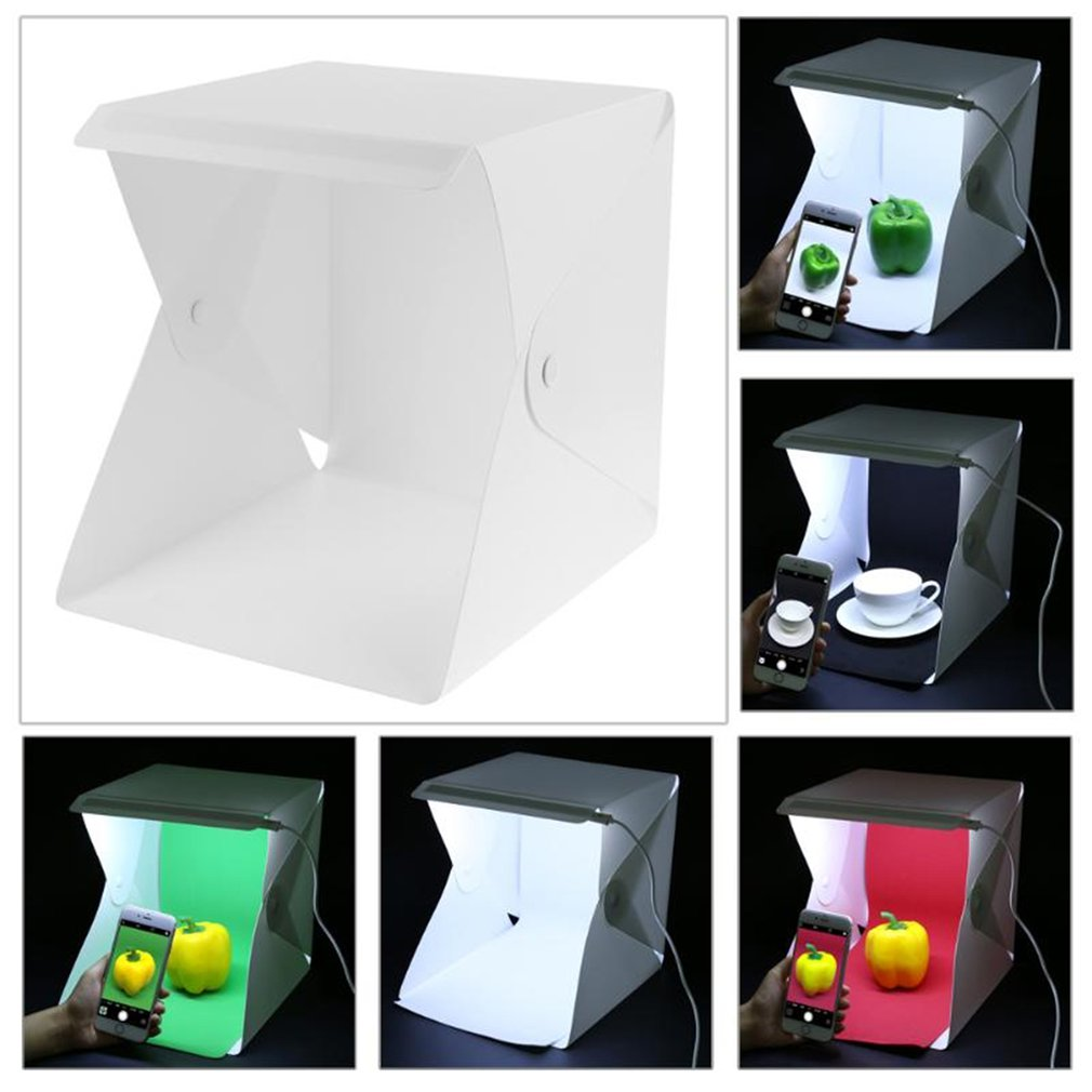 20cm Mini Folding Lightbox Photography Studio Softbox LED Light Room Soft Box Camera Photo Background Box Light Tent Kit image