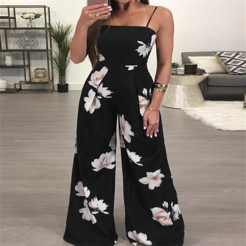 Hirigin New Womens Summer Long Playsuit Romper   Jumpsuit   Ladies Sleeveless Casual Floral Print One-Piec Clothes
