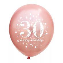 5 pçs/lote escrita do balão do Aniversário Rosa número 16 18 30 40 50 60 70 80 90 anos Globos de Látex balão de festa de Aniversário digitais