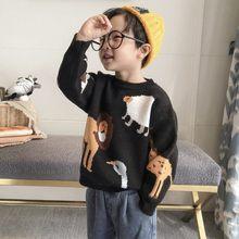 Menino conjunto de cabeça camisola do bebê das crianças menino outono e inverno casaco pequeno outono malha arte forro da criança menino suéteres