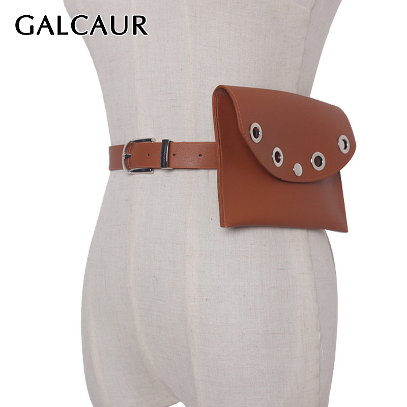 GALCAUR Hollow Out PU Leather Women's Waist Belt Detachable Small Bag Wide Belt Female Fashion Tide 2019 Vintage Accessories New