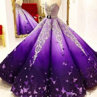 Stunning Purple Princess Quinceanera Dresses Crystal Beads Sash Butterfly Lace Appliques Engagement Dress Ball Gown Prom Gowns
