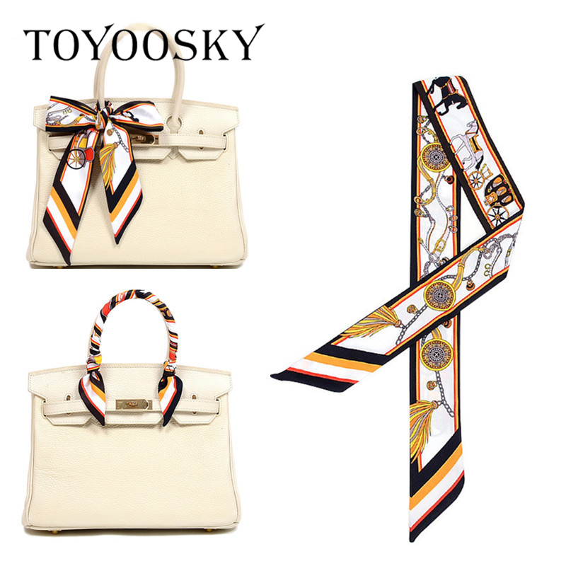 TOYOOSKY Print Bag Strap Scarf 2019 Womens Silk Scarf Fashion Head Scarf Headwear Long Scarves Bag Accessories Ribbon Hot Sale