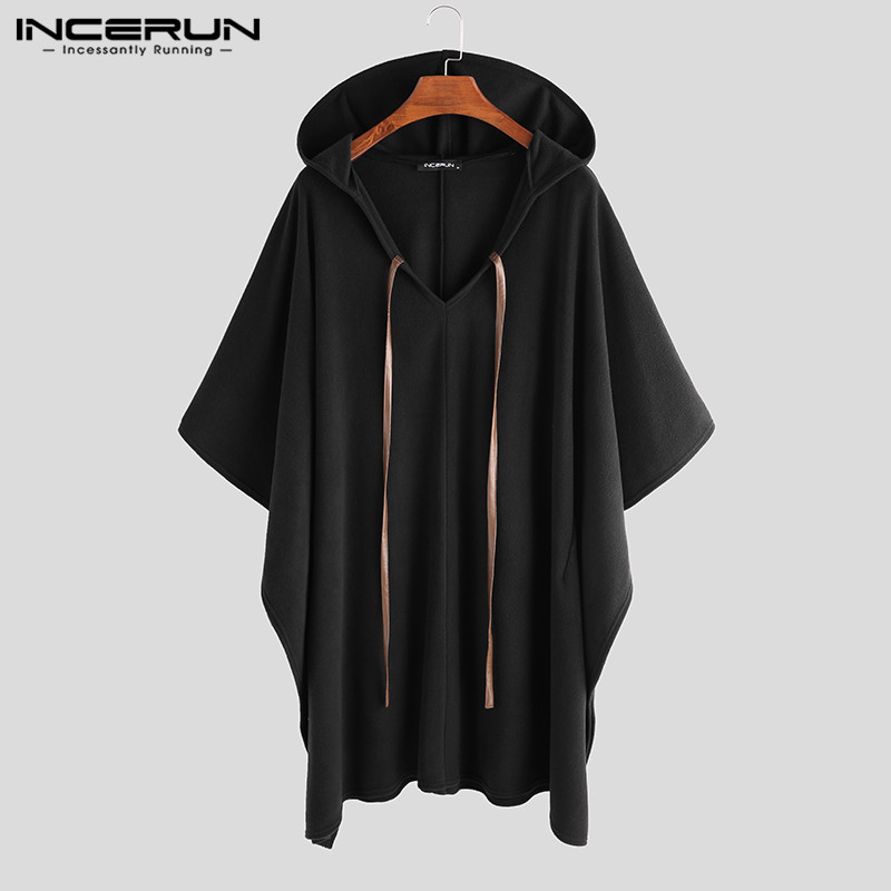 INCERUN Fashion Men Cloak Coats Hooded Solid Color Cape Poncho 2019 Loose V Neck Streetwear Coat Irregular Men Long Trench S-5XL