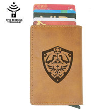 Classic Fashion The Legend of Zelda Rfid Card Holder Men Wallets Brown Vintage Short Purse Leather Slim Wallets Mini Wallet(China)