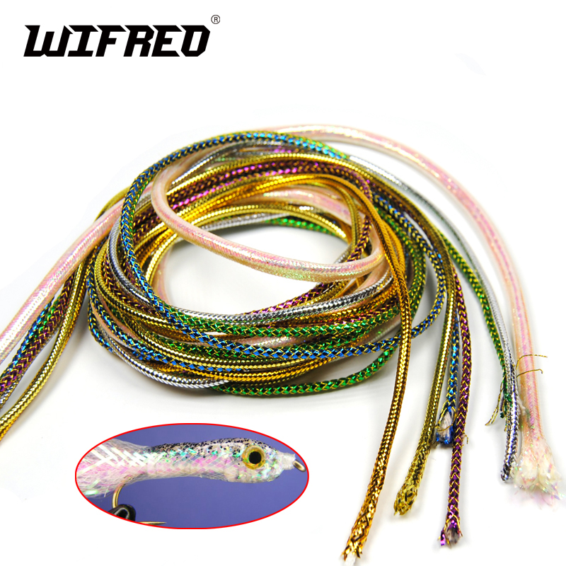 2Pack/4m Holographic Mylar Cord Gold Silver Pearl Flashabou Minnow Body Braid Flash Tubing for Fish Fly Tying Material 3mm