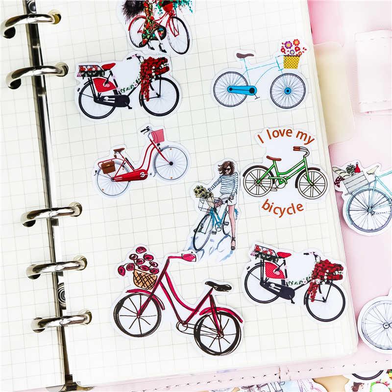 38Pcs Hand Tekening Fiets Sticekrs Aquarel Sticker Dagboek Notebook Planner / Handbook Diy Brief Dunne Papier Waterdicht