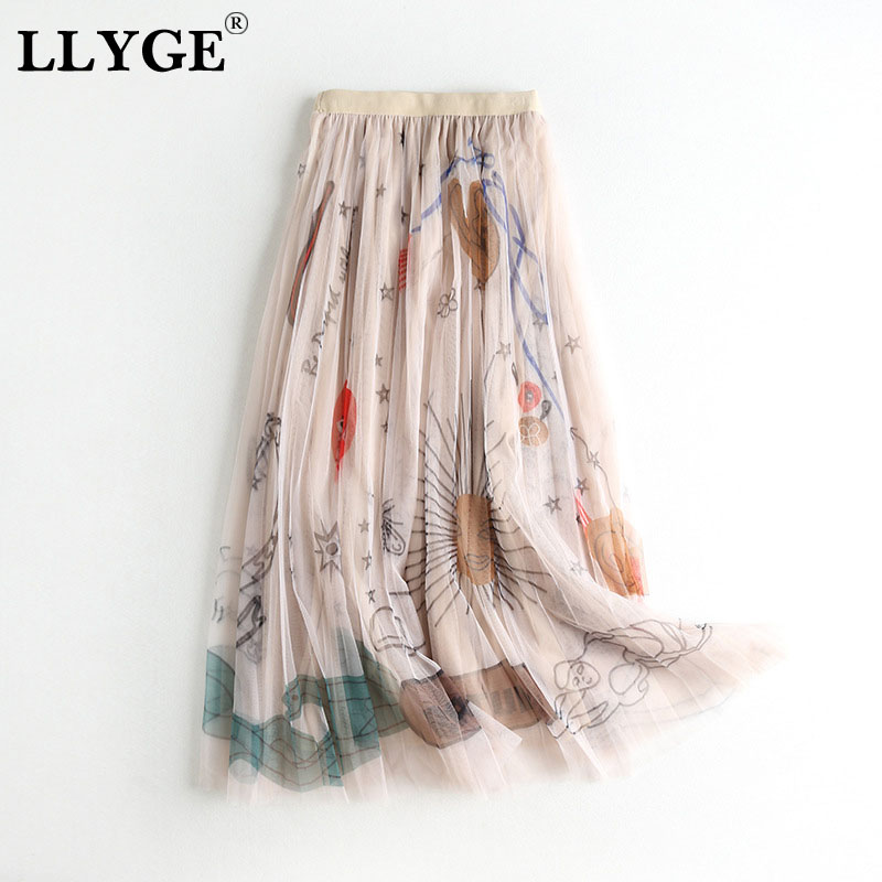 Graffiti Print Mesh Tulle Women's Skirts Elastic High Waist Long Skirt Female Summer 2020 Spring Ladies A-line Pleated Skirts
