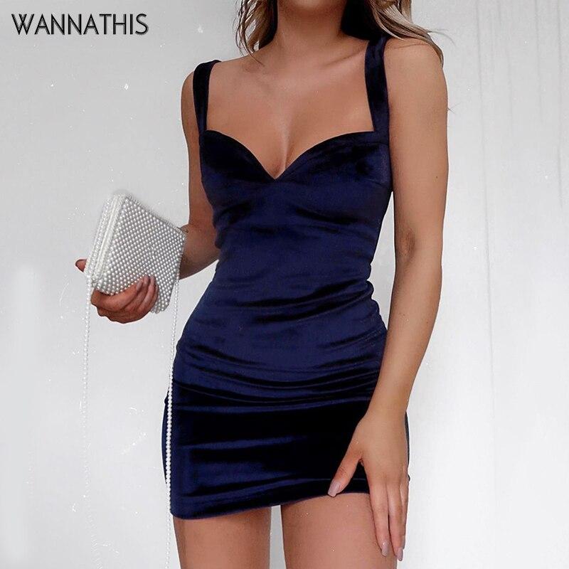 WannaThis Blue V-Neck Spaghetti Strap Sexy Mini Party Dresses Sleeveless Skinny Soft Women Backless Summer Fashion Slim Dresses